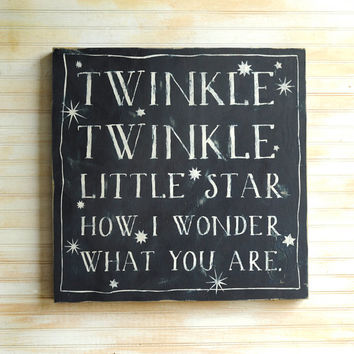 Nursery Wall Art Twinkle Twinkle Little Star Box Nursery Wall Art Nursery Rhyme Sign