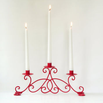 Christmas in July / Metal Scroll Taper Candle Holder / Holiday Centerpiece / Holiday Decor / Red Home Decor / Mantel Decor / Housewarming