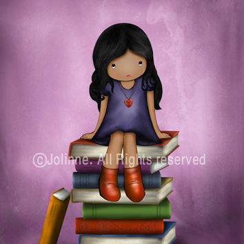 Books theme wall art print, kids room, baby purple nursery , teenagers art , back to school , dark skin girl, african american girl art