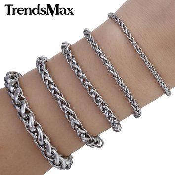 Trendsmax 3/3.5/4/6/8mm Stainless Steel Link Bracelet Mens Chain Boys Fahsion Jewelry