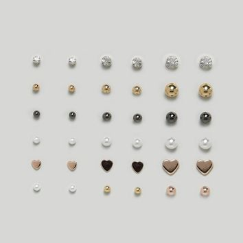 ASOS Pack of 18 Mixed Stud Earrings at asos.com