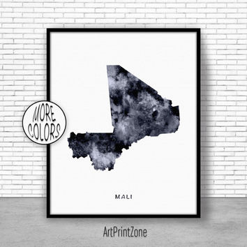 Mali Print, Watercolor Map, Mali Map Print, Office Wall Decor, Office Wall Art, Living Room Art, Map Decor, Map Wall Art Print Zone
