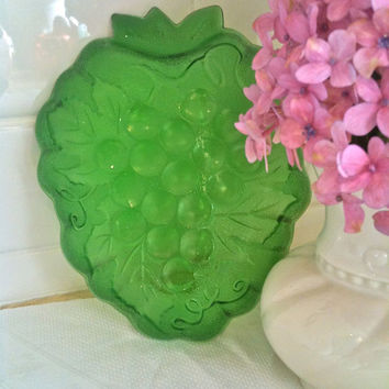 Vintage Green Depression Glass Candy Dish Or Sa...