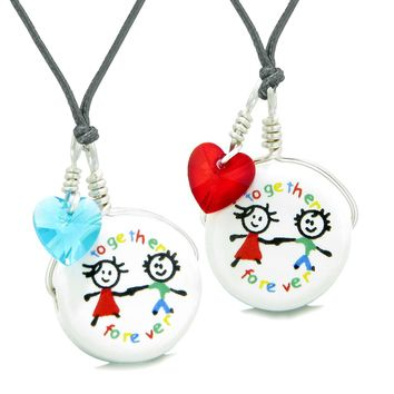 Love Couples Best Friends Forever Together Set Ceramic Charm Blue Red Hearts Amulet Adjustable Necklaces