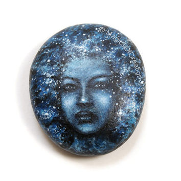 Miss Universe, Original painting on stone. OOAK space and cosmos miniature pebble art