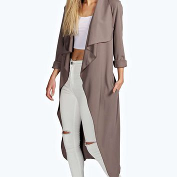 Elsa Crepe Belted Waterfall Duster