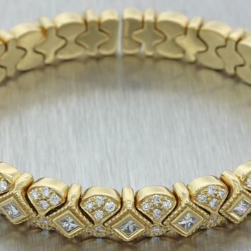 Vintage Estate Sonia B. Bitton 14K Yellow Gold 2.00ctw Diamond 9mm Cuff Bracelet