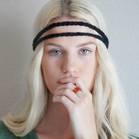 Double Strand Headband Double Braid Hair Band Hippy Style Boho Music Festival Hairwrap in Black