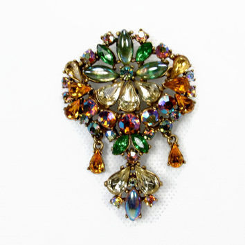 Signed ART Vintage Rhinestone Brooch, Iridescent Rhinestones, Green Jonquil, Peach Pink, 1950s Jewelry, Vintage Brooch, Dangle Brooch