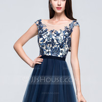 [ 147.49] A-Line/Princess Scoop Neck Sweep Train Tulle Prom Dress With Beading Appliques Lace Sequins (018070388)