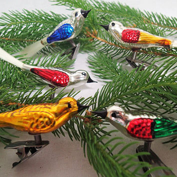 Glass Bird Christmas Ornaments, clip on with filament tail, set of 5