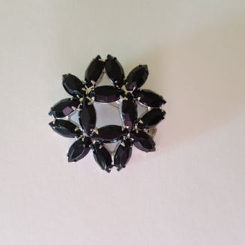 Brilliant black glass starburst marquis cut rhinestone brooch 1960's costume jewelry silver backing mid century retro accessories mad men