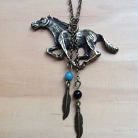 "Indian ""Free Runner"" Feathered Mustang Necklace"