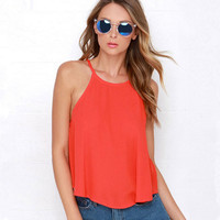 Red Halter Neck Back Split Blouse