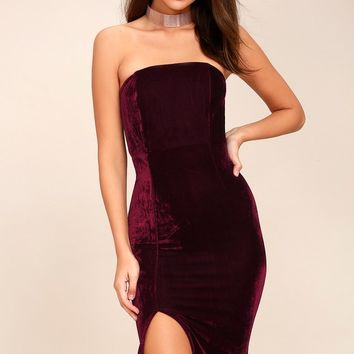 Hey Baby Burgundy Velvet Strapless Bodycon Midi Dress