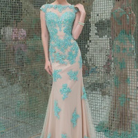 Sleeveless Prom Dresses,Green Prom Dresses,Long Evening Dress