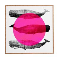 Elisabeth Fredriksson Whales Pink Framed Wall Art