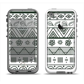 The Black & White Floral Aztec Pattern Apple iPhone 5-5s LifeProof Fre Case Skin Set