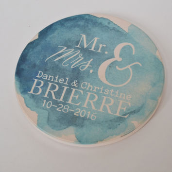 Set of 4 Custom Standstone Wedding Coasters