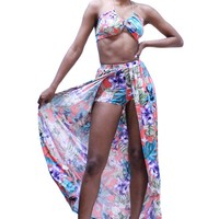 Tropical Floral Sleeveless Halter Bra Top And Maxi Skort Set
