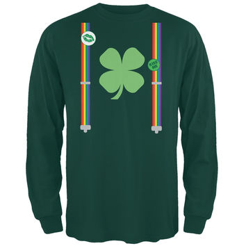 St. Patricks Rainbow Suspenders Forest Green Adult Long Sleeve T-Shirt