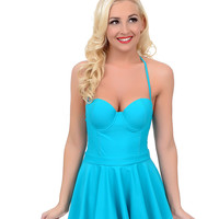 Vintage 1950s Style Pin-Up Teal Fit N Flare Bandeau One Piece Swimsuit