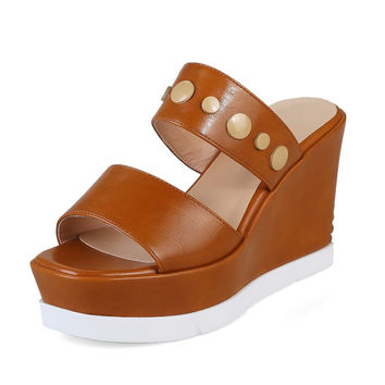 DoraTasia Fashion New Design Open Toe Thick Platform Women Mules Pumps Sexy Wedges High Heeled Cool Shoes Outdoor Party
