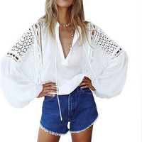 Sexy Women 2017 Chiffon V Neck Plunge Hollow Out Long Sleeve Tops Shirt Blouse Female Lantern Sleeve Casual Loose Top Blusas