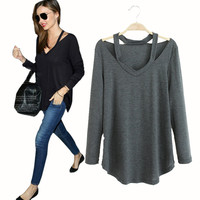 Classy Casual Cut-Out Long Sleeve Top