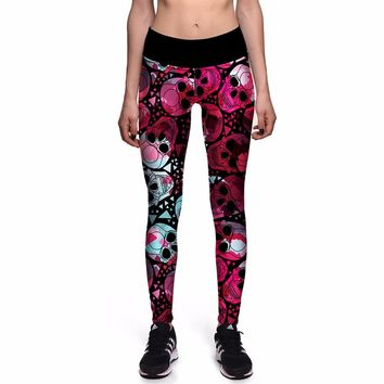 Fitness Red Skull Harajuku Women Punk Sport Pants High Waist Girls Running Gym Jogging Workout Pant S To 3xL