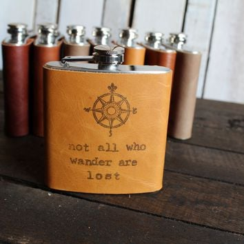 *Customizable* Compass/Not All Leather Hip Flask