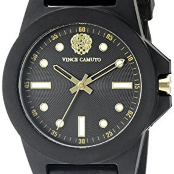 Vince Camuto Women's VC/5280BKBK Black Silicone Strap Watch