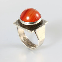 Mexico Sterling silver Carnelian Ring, agate ring, eagle mark, modernist ring jewelry, size 5 1/2