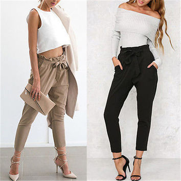 Autumn Casual US Seller Women Long Pants High Waist Stretch Cotton Slim Loose Fashion New High Quality Trousers