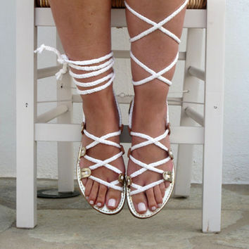 """Leather Sandals,  Women's sandals Gold and white gladiator sandals, Goddess sandals Unique design, with braided straps """"SELENE"""" SES07"""