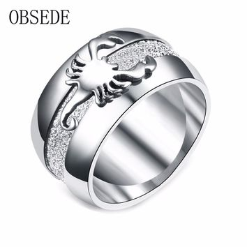 OBSEDE Punk Stainless Steel Ring Scorpion Signet for Men Women Silver Color Jewelry for Wedding Party Gift Charm Fashion Gift