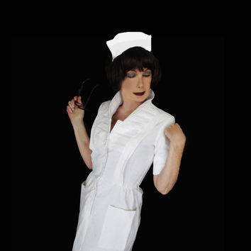 Vintage Nurse Uniform - 1960s Vintage Waitress - Vintage Maid - Halloween Costume - Cosplay - Small