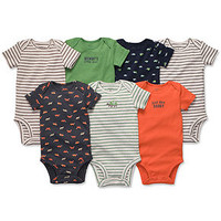 Carter's Baby Bodysuits, Baby Boys 7-Pack Short-Sleeved Bodysuits - Kids Baby Boy (0-24 months) - Macy's