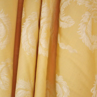 Designer Fabric / Yellow Damask / Plumes & Ribbons / French Style