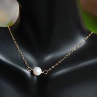 Single pearl pendant, 14kt gold filled pearl choker necklace, fresh water pearl simple necklace, bridesmaid gifts