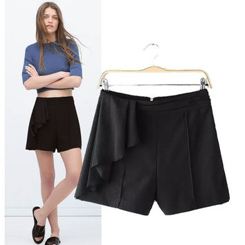 Stylish High Rise Chiffon Patchwork Women's Fashion Shorts [5013336644]