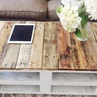 Pallet Coffee Table 'LEMMIK' Farmhouse Style, Rustic, Shabby Chic & Industrial looking Reclaimed Wood, Upcycled Solid Wood
