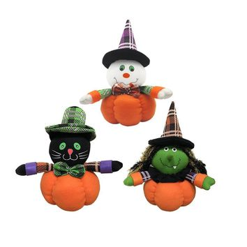 Lovely Pumpkin Witch Ghost Black Cat Plush Doll with Stocking Cap for Halloween Parties Dancing Hall Mall Decor