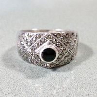 Vintage Black Onyx Silver Marcasites Sterling Ladies Ring Size 9 Gift For Her Sparkling Tapered Wide Band Fabulous Fashionable Rockin' Ring