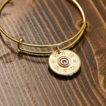 Adjustable Gold 12 Gauge Shotgun Shell Brass Bangle