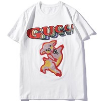 GUCCI 2019 new embroidered pig female models wild half sleeve shirt white