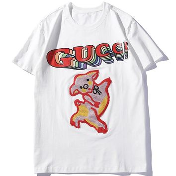 378f3d4da26 GUCCI 2019 new embroidered pig female models wild half sleeve sh. Item  Type  Clothing ...