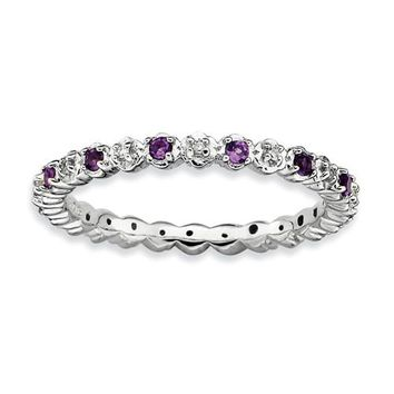Sterling Silver Stackable Expressions Amethyst & Diamond Alternating Eternity Ring