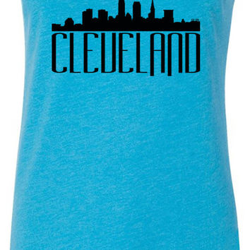 Cleveland Skyline (Black) Tri-Blend Racerback Tank-Top