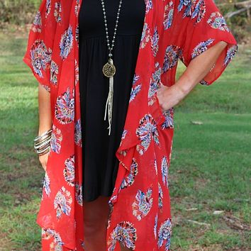 Little Miss Chief Indian Skull Sheer Kimono in Red